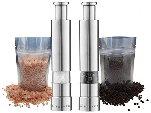 Brever Original Premium Stainless Steel One Handed Thumb Salt and Pepper Grinder | With Free Himalayan Pink Salt & Whole Black Peppercorn | Kosher & Natural Certified | Pack of 2 Mills Set |