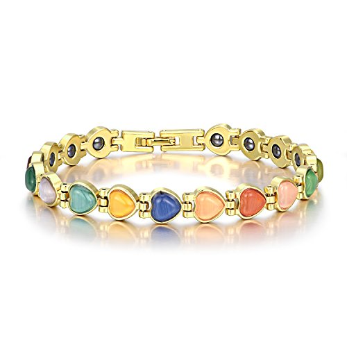 Women Magnetic Field Therapy Bracelets Hearts Opal Link Bracelets Pain Relief (Multicolored)