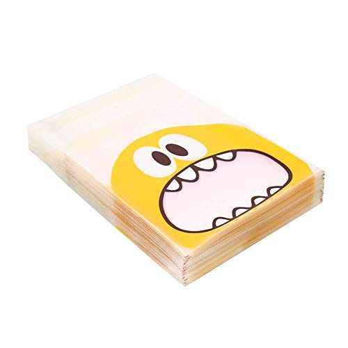 Wootkey Candy Bags 300 pcs 4'' Big Mouth Monster Self Adhesive OPP Cookie Bakery Decorating bags Biscuit Roasting Treat Gift DIY Plastic Bag by Wootkey (Image #2)