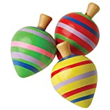 US Toy Dozen Assorted Classic Wooden Spinning Tops Toy
