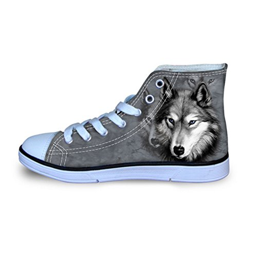 Cheap Showudesigns Stylish Wolf Grey Print Ankle Canvas Boots Woman Comfortable Flat Shoes