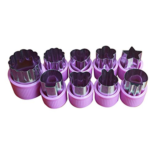 Frjjthchy 9 Pcs Stainless Steel Protect Hand Fruit Cutters Shapes Kid Food Mold Purple - Homemade Guillotine Halloween
