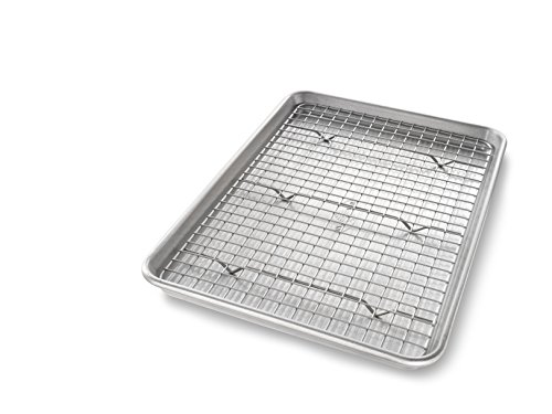 USA Pan 1605CR Jelly Roll Baking Pan and Bakeable Nonstick Cooling Rack, Metal ()