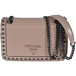 Prada Pattina Glace Calf Leather Cammeo Beige Pattina Studded Bag 1BD147
