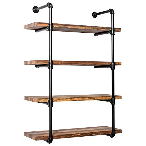 IRONCK Wall Shelf 4-Tier Pipe Shelf, Wood and Metal Frame,Industrial Shelving for Kitchen, Bedroom, Living Room,Home Decor Rustic Wall Decor (Kitchen Metal Shelves Wall)