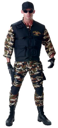Men's Seal Team Deluxe Uniform Navy Military Outfit Halloween Fancy Costume, STD (42-46)