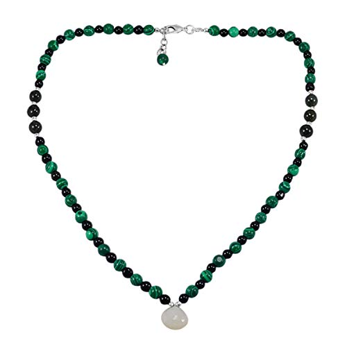 Saamarth Impex Chalcedony, Malachite & Black Onyx 925 Silver Plated Necklace - Malachite Onyx Necklace