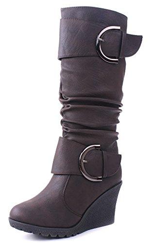 Women Fashion Buckles Mid-Calf Slouchy Zipper Wedge Heel Boots Brown pJXC9mp4r