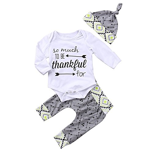 GRNSHTS Baby Boys Girls 3Pcs Thanksgiving Long Sleeve Pant Set Letter Print Romper + Arrow Pants + Hat (80/3-6 Months, Grey & Light Green) ()