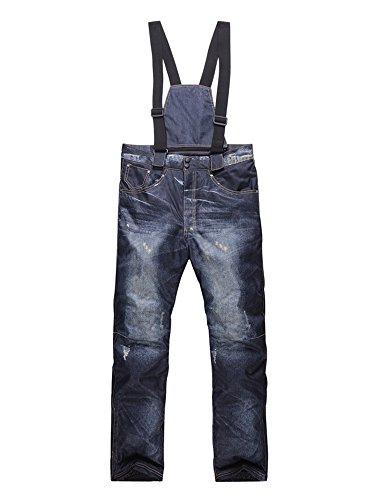 Mens Insulated Winter Warm Waterproof Ski Snow Pants Snowboard Denim Suspenders Jeans Trousers #16097M