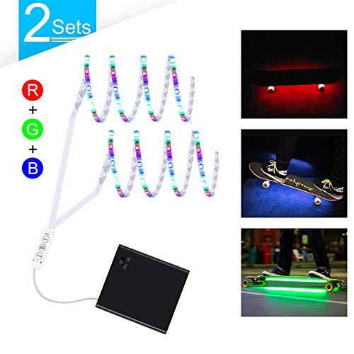 2Sets LED Strip Lights Battery Powered, Dimmable R/G/B LED Light Strip for Skateboard, DC6V Scooter Decor Light with Mini 3 Keys -