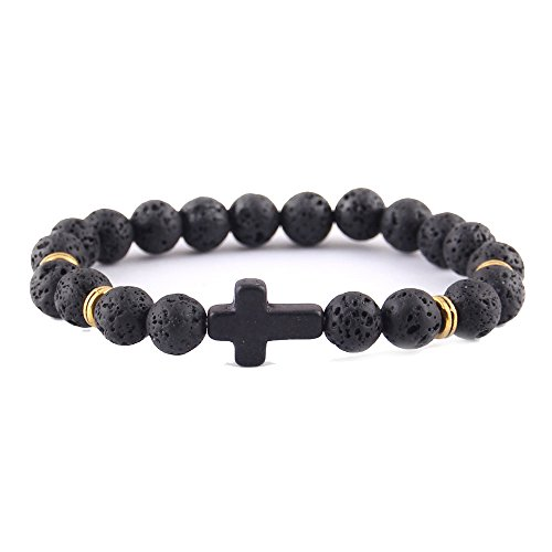CAIYCAI New Jesus Cross Charm Men Bracelet Lava Stone for sale  Delivered anywhere in USA