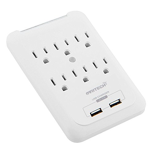 Multi-function Wall Mount Outlet Adapter, Surge Protector Charging Station, OviiTech Dual 2.1AMP USB Charging Ports,6 AC Socket Outlet Plugs,White,ETL Certified Multifunction Wall Station