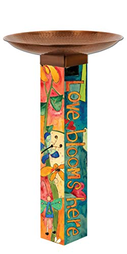 Studio M Love Garden Bold Floral Bird Bath Art Pole Hand-Hammered Copper-Plated Stainless Steel Top, Hardware Included, Easy Installation, Printed in USA, 31 in. Tall with 18 in. Dia. Bowl