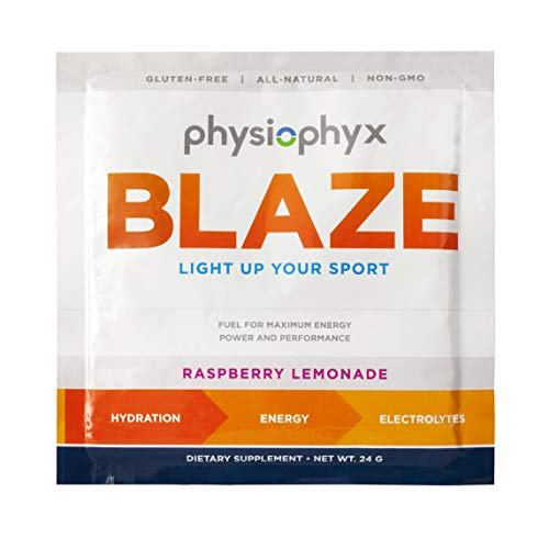 PhysioPhyx Blaze Endurance Drink Mix (12 Pack Case of Single Serves) Rapid Hydration Pre Workout Sport Hydration Drink Mix, Electrolyte Powder, Maximum Energy, Maximum Performance. Raspberry Lemonade