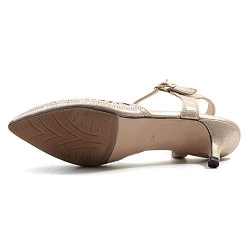 Brillantes Con De Punta Zapatos Hhgold Boda Las Cerrada Mujeres Sandalias S71wAt