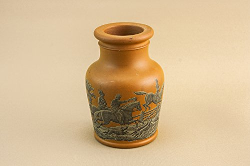 Antique Elegant Fox Hunt VASE Small Old Victorian Pottery Terracotta Shouldered Rare Decor English Late 19th Century (Bronze Age Terra Cotta)