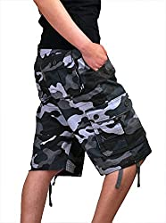 XueYin® Mens Cargo Pocket Shorts Military-Style(Gray,30 size)