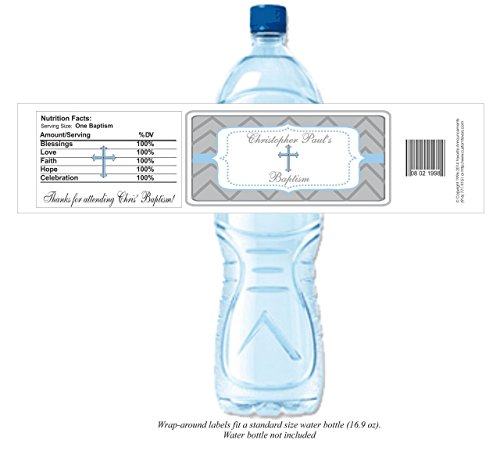 Chevron Theme Holy Communion or Baptism Personalized Water Bottle Labels (set of (Personalized Water Bottles Labels)