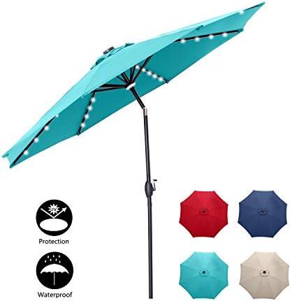 Klismos 10 FT Patio Umbrella with Lights Outdoor Table Market Umbrella with Tilt Crank,8 Sturdy Ribs Blue