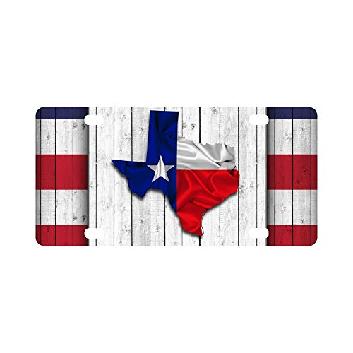 InterestPrint Texas Stars Map with Texas State Flag On Wood Background Metal License Plate for Car, Metal Auto Tag for Woman Man, 12 x 6 Inch ()