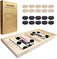 BAKAM Head-to-Head Wooden Desktop Hockey Table Game for Kids and Adults, Portable Hockey Game Set for Family Party, Birthday