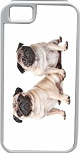 Rikki KnightTM Two Pug Dogs Deisgn White Tough-It Case Cover for iPhone 5 & 5s(Double Layer case with Silicone Protection and Thick Front Bumper Protection)