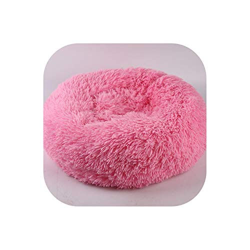 Faux Fur Donut Cuddler Warm Plush Princess Cat House Kennel Dog Bed for Medium Dogs Machine Washable Water-Resistant,Pink,M 60x20cm