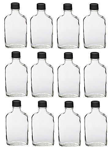 Nakpunar 12 pcs Glass Flask Bottles with Black Tamper Evident Cap - 200 ml