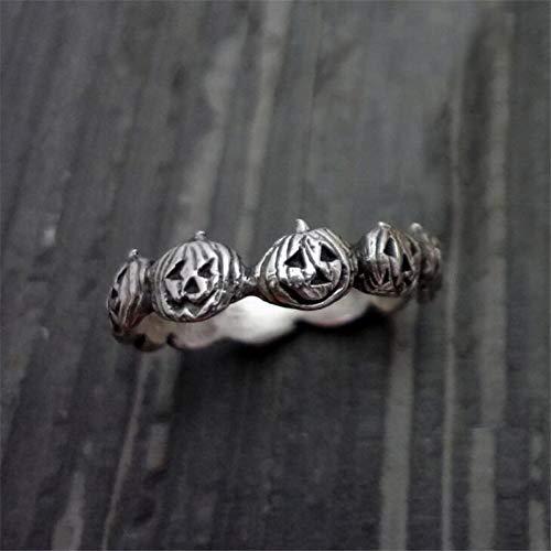 JZIEHI Vintage Silver Color Jewelry Halloween Party Jewellery Cute Pumpkin Rings for Women Gifts]()