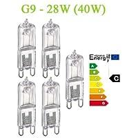 Trango Lot de 5 ampoules halogènesG9230V, ampoules à économie d'énergie 28W (équivalent 40W) à intensité variable, classe d'efficacité énergétique: C