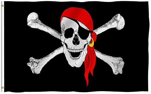 Jolly Roger (Red Scarf) - 3' x 5' Polyester Pirate Flag