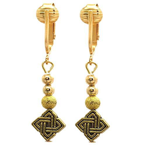 Beautiful Gold Clip On Earrings for Women, Clip Earrings Gold Stardust Earrings Glitter, Shimmer Holiday (Celtic Knot)