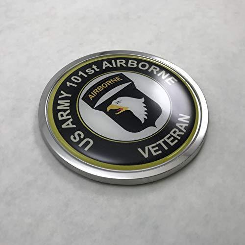 (BestLicensePlateFrames US Army 101ST Airborne Division 3D Domed CAR Emblem Badge Sticker Chrome Metal Round Bezel)
