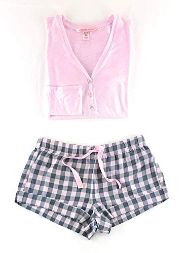 Victoria's Secret Henley Flannel Short Pajama Set X-Large Gray Check/Pink