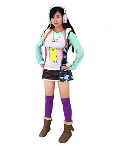 Dazcos Super Sonico The Animation Super Sonico Outfit V1 Set Hoodie Cosplay Costume (Women XL)