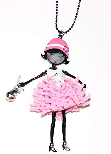 Price comparison product image Necklace French Jewelry Paris, les pepettes Collection,  Enamel Pink Doll LOL Bijoux