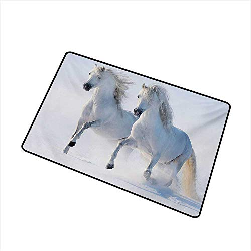 (Welcome Door mat Winter Galloping Noble Horses on Snow Covered Field Purity Symbols Animals Equestrian Theme W24 xL35 Antifouling )