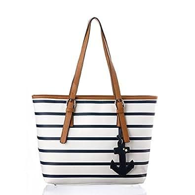 Latest Navy Style Strip Print Anchor Handbag