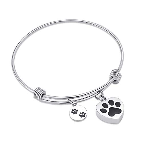 (Alway in my heart expandable cuffCremation Bracelet for Ashes Dog Cat Paw Prints Pet Memorial Urn Jewelry  (Silver))
