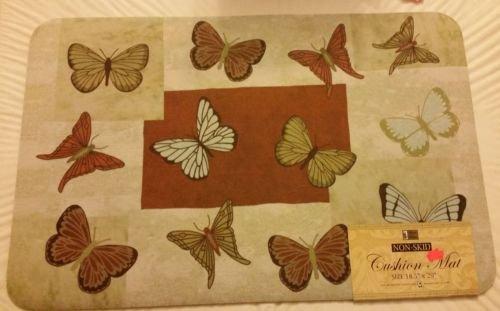 The Pecan Man Butterflies NonスキップクッションマットW / Foam Backing、1pcs 18.5 X 29インチ   B01LYTLUSU