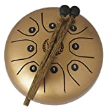 B Blesiya 5.5'' Steel Tongue Drum Hand Drum with Stickers Padded Bag for Kids Adults Musical Instrument - Gold