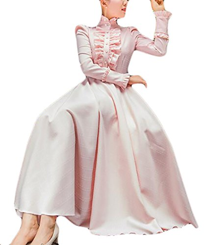 Sleeve Long Solid Dress Neck Pink Womens Jaycargogo Maxi Color Ruffled Cute 7xYH0F1Fqw