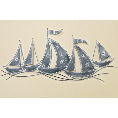 The Rustic Regatta, Cape Cod Style Sail Boats, Distressed Gray Iron Sculpture , Hand Crafted Wall Art, 31 ½W x ¾D x 15H Inches (80W x 2D x 38Hcm) by Whole House Worlds (Cape Cod Porch)