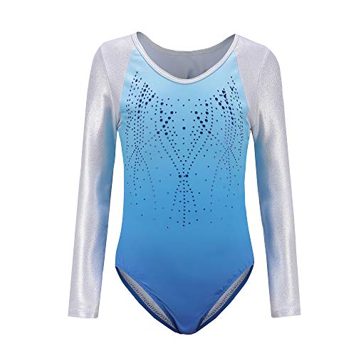 - Girls Gymnastics Leotards One-Piece 5-14 Years Shiny Practice Outfit (5-6Years, Blue Long sleeve)