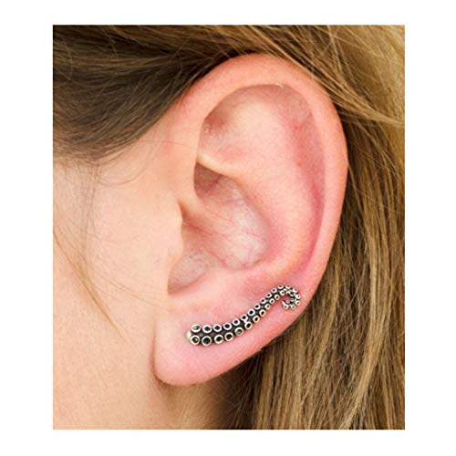 - ManxiVoo Octopus Tentacle Ear Crawler Cuff Clip-On Earrings Stud Climber Earring Jewelry (Silver)