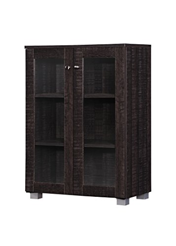 Wholesale Interiors Mason Multipurpose Storage Cabinet Sideboard with Two Class Doors, Dark Brown - Large Sideboard