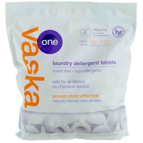 Vaska One Scent Free Laundry Tablets - 90 per pack -- 3 packs per case. by vaska