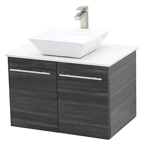 (WindBay Wall Mount Floating Bathroom Vanity Sink Set. Dark Grey Vanity, White Flat Stone Countertop Ceramic Sink - 30
