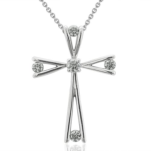 18k White Gold Cross Diamond Pendant Necklace (1/4 Carat)